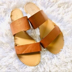 CHARLOTTE RUSSE • Brown Flat Slip-on Sandals • 7